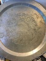 """14"""" Vintage World  Round Hand Forged Aluminum Floral Serving Tray"""