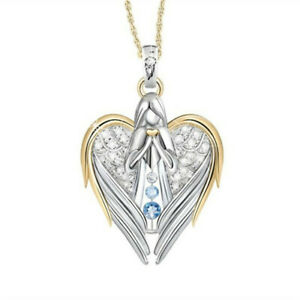Angel Wing Heart Pendant Necklace Silver Plating Rhinestone Chain Gift Guardian