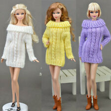 New Knitted Handmade Sweater Tops Coat Dress For Barbie Doll Toys