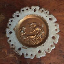 Antique Reticulated White Milk Glass Plate Spring Meets Winter Cupid