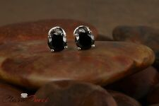 2.15 CTW Round Cut Black Stud Earrings in Solid 14k Real White Gold Screw Back