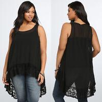 Plus Size Women Chiffon Sleeveless Blouse Lady Loose Casual Black Vest Tank Tops