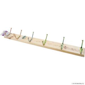 HOOK WALL COAT HANGERS Clothes Pine Wood Rack 3, 4, 5, 6 Hooks Pegs UK