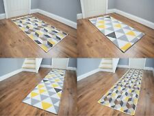 Gold Grey Ochre Hallway Runner Mat Non Slip Large Small Kitchen Entrance Rug