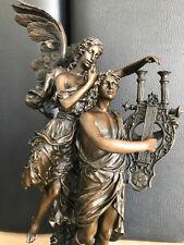 Bronze Figurine Ciel-sonore avec de la Lyre Vintage signée A. Moreau 36 cm 5,1 kg