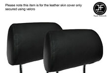 BLACK STITCH 2X FRONT HEADREST LEATHER SKIN COVERS FITS AUDI A4 B7 2004-2008