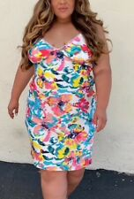Forever 21 Tropical Flower Lace Trim Satin Slip Dress Night Gown Plus Size 2X