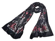 Elegante DEVORE Stola mit floralem Muster 65% Seide 35% Viskose Handrolliert