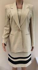 Ronit Zilkha Smart Beige 2 Piece Suit, Shift Dress and Jacket Size 14 #R3