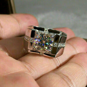 Luxurious Men's Engagement & Wedding Solitaire Ring 14K White Gold 2.6Ct Diamond