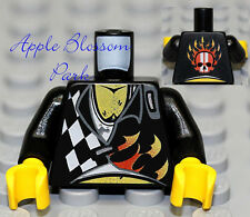 NEW Lego Racers Black MINIFIG TORSO -Male Shirt w/Red Skull & Flame Fire Pattern