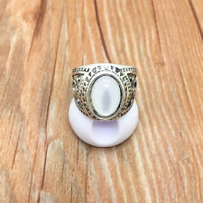 New Vintage Jewelry 316L Stainless Steel Fashion White Ring Size 8 BYS8W75