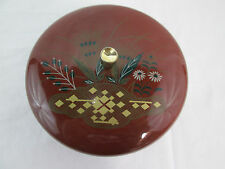 "Vintage Asian Rice Bowl w/ Lid, Brown with Grass decor, 5""dia"