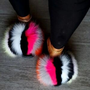 New Arrival Girl Luxury Fluffy Fur Slippers Ladies Warm Furry Flip Fop Plush