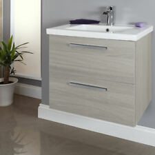 600mm Wall Hung Bathroom Vanity Unit & Basin Single Tap Hole Grey Ash Modern