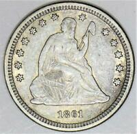 1861 Seated Liberty Quarter; Nice XF-AU; Popular Civil War Date