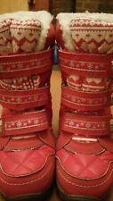 Botas nieve rojo y plateado de al talla 12 velcro ajustar y fijar