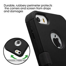 For iPhone SE / 5S - HARD&SOFT RUBBER HYBRID ARMOR HIGH IMPACT CASE COVER BLACK