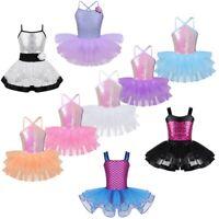 Girls Sequins Ballet Dance Dress Kids Gymnastics Leotard Tutu Skirt Wear Costume
