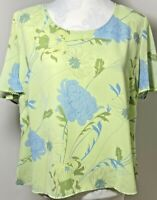 JACQUES VERT Size 18 Top Blouse Mint Green Floral Beaded Lined Tunic Wedding