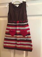 CRAZY 8 Sz 18-24 MonthsToddler Striped Sweater Jumper Dress with Heart pockets