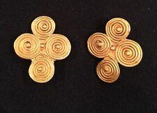 African Gold Spiral Cross Earrings ~Tribal Jewelry ~~ NEW !