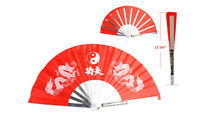 Red Taichi Kung Fu Steel Martial Arts Fan