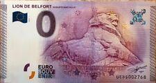 BILLET 0 ZERO EURO  SOUVENIR TOURISTIQUE  LE LION DE BELFORT  2015