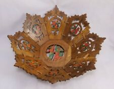 Antique Black Forest Jewish Hand Carved & Painted Wood Ceremonial Fruit Bowl