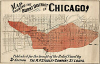 1871 Map of Chicago Burnt District - Showing Areas Affected by the Great Fire