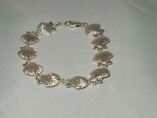 NEW STERLING SILVER NAUTICAL SHELLS BRACELET MARINE SEALIFE JEWELRY  NICE WEIGHT