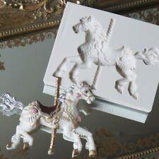 Fresh 3D Silicone Carousel Horse Mold Fondant Cake Mold Cupcake Baking Tools NT5