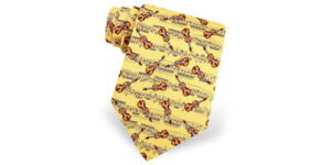 Yellow 100 % Silk Music Tie with Violins and music notes by Alynn, made in USA