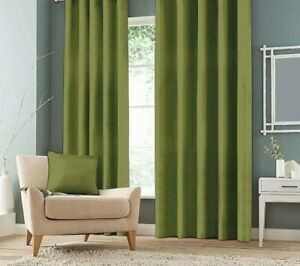 """Olive Leaf Green 100% Canvas  Pencil Pleat 3"""" Tape Top  Curtains"""