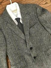Vtg 60s Mid Century Wool Harris Tweed Blazer Sport Coat Suit Dinner Jacket 38S