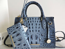 Brahmin Anywhere Convertible Denim Leather Tote Satchel Bag+Bi-fold Wallet NWT