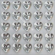 50 x 10mm Clear Non Facet Heart Rhinestone Diamante Stick On Self Adhesive GEMS