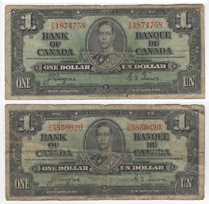 $1 1937 Bank of Canada Pick #58e Set of 2 Notes