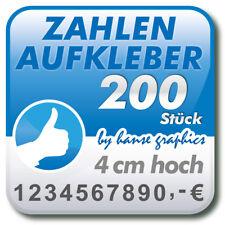 200 Zahlenaufkleber je 4 cm hoch, Klebezahlen Klebeziffern in Ihrer Wunschfarbe