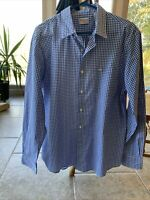 Dockers Men's Size Large Blue/White Checked Long Sleeve Button Down Shirt