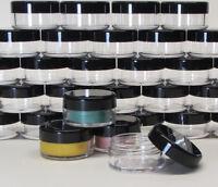 100 Cosmetic Jars Empty 10 Gram Plastic Beauty Containers Black Caps 10 Ml .5068