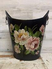 Vintage Toleware Black Metal Hand Painted Floral Waste Can #23459