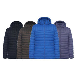 MEN'S QUILTED PADDED PUFFER BUBBLE COLLAR HOODED ZIP WARM JACKET COAT S-XXL