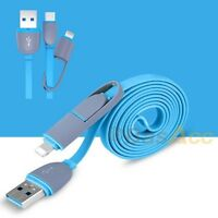 BasAcc   2in1 micro USB Daten- Ladenkabel f. iPhone Samsung HTC LG iPad/ Blau 1m