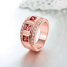 18K Rose Gold GP Ruby Red Swarovski Crystal Solid Wedding Engagement Band Ring