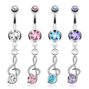 Belly Button Piercing Pendant Note Clef Piercing Zirconia Crystal Stone