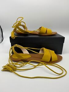 French Connection Bobbie Bobbie Flat Sandals Yellow Sizes 4 6 RRP £80