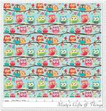 Riley Blake ~ Happy Flappers ~ By Kelly Panacci ~ Owls ~ C4021 Blue ~ By 1/2 Yd