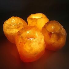 4 X  HIMALAYAN CRYSTAL ROCK SALT CANDLE TEA LIGHT HOLDER NIGHT DESK CANDLE LAMP