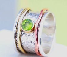 Peridot Solid 925 Sterling Silver Spinner Ring Meditation Statement Jewelry gu63